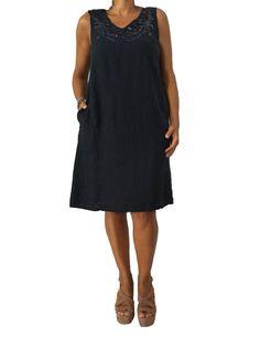 LA FEE MARABOUTE abito blu donna senza manica con paillettes in tinta 100% lino…