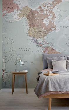 Quality Classic World Map Mural, custom made to suit your wall size, and fully customisable. A classic wallpaper style that will be timeless in your space. World Map Mural, World Map Wallpaper, Wall Wallpaper, World Map Design, Classic Wallpaper, Classic Interior, Office Wall Art, Wanderlust, Wall Murals