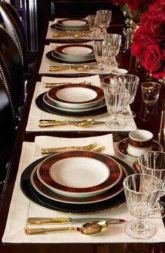 Ralph Lauren Home sets a stunning, festive holiday table featuring plaid Duke tabletop with gold accents