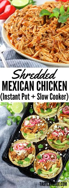 This #Mexican #chicken is super-tender and tossed in the most flavorful and mouth-watering sauce! Perfect for tacos, burritos, enchiladas, taco salad or served with beans and rice... Just so many options to serve your family this tasty dish! https://tasteandsee.com