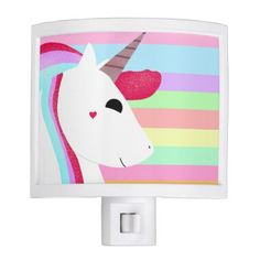 Glittery Unicorn with Stripes - Cute Drawing Night Light - drawing sketch design graphic draw personalize