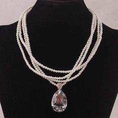 Nova moda Natural pérola contas Necklace18K banhado a ouro cristal austríaco colar e pingente para mulheres grátis frete atacado