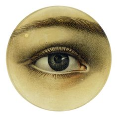 John Derian Eye Plate / Decoupage on handblown glass Vintage Labels, Vintage Ephemera, Graphics Vintage, Decoupage Plates, Lovers Eyes, Stencils, Eye Jewelry, Enamel Jewelry, Glass Jewelry