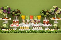 What a great idea for a healthy spread at a party. Looks just as enticing as the candy/dessert buffets you see around all the time. alittlecoffee Buffet Dessert, Dessert Stand, Dessert Tables, Party Buffet, Table Party, Appetizer Buffet, Fruit Buffet, Brunch Buffet, Fruit Dessert