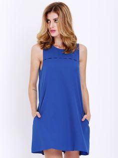 Blue Sleeveless Pockets Casual Dress