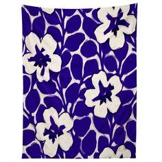 Jacqueline Maldonado Painted Floral Cobalt Tapestry | DENY Designs Home Accessories
