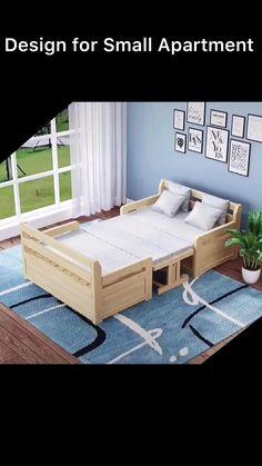 Room Design Bedroom, Bedroom Furniture Design, Home Room Design, Home Decor Furniture, Pallet Furniture, Furniture Projects, Home Interior Design, Diy Bedroom Decor, Beds For Small Spaces