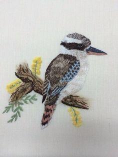 Kookaburra stitched by RSN Australia's new tutor, Angela Bishop. Amazing!