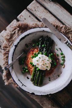 Potato Galette with Sautéed Asparagus & Fresh Peas