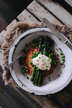 Egg, potato and asparagus