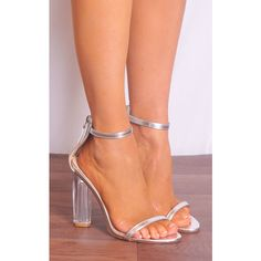 Shoe Closet Silver Metallic Clear Glass Perspex Barely There Strappy... (60 CAD) ❤ liked on Polyvore featuring shoes, sandals, metallic, clear heel sandals, clear high heel shoes, silver metallic shoes, clear high heel sandals and high heel shoes