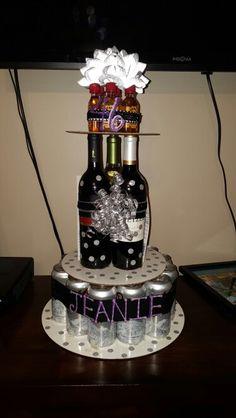 Girl version of a beer cake 21st birthday celebration