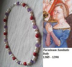 Medieval necklace based on Tacuinum Sanitatis jewelry replica