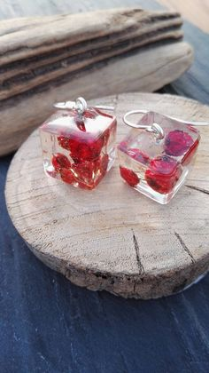 Red Seed Cube drop earrings Pure 999 silver handmade ear wire Nature lovers Valentine Gift Preserved forever /Irish Wild Atlantic Way by FernBerryBoutique on Etsy Boho Bride, Wedding Bride, Fern Tattoo, Here Comes The Bride, Handmade Silver, Valentine Gifts, Cube, Irish, Lovers