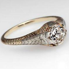 Antique Old Euro Diamond Engagement Ring w/ Etching 18K Gold 1930's - EraGem