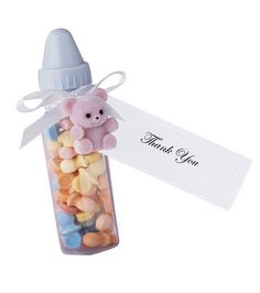 Makes 24 favors Includes 24 bottles, ribbons  and  printable tags 2 test sheets for printing Measures: 4inches long A baby is an exciting time in your life.  Whether you are the Mom-to-be, Grandma-to-