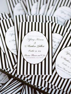Striped favor bags | Read More: http://www.stylemepretty.com/california-weddings/2014/06/26/elegant-santa-barbara-wedding-at-bacara-resort/ | Photography: Michael  Anna Costa Photography - michaelandannacosta.com