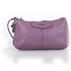 Pre-owned Coach Leather Wristlet: Purple Women's Bags ($33) ❤ liked on Polyvore featuring bags, handbags, clutches, purple, purple handbags, coach clutches, leather clutches, purple purse and purple wristlet