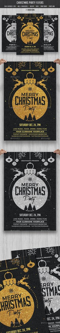 Christmas Party Flyer — Photoshop PSD #invitation #christmas party • Download ➝ https://graphicriver.net/item/christmas-party-flyer/18996860?ref=pxcr