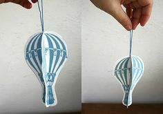 Sarah Pinyan posted Printable: Hot air balloon ornaments to her -Papercraft- postboard via the Juxtapost bookmarklet. Air Ballon, Hot Air Balloon, Paper Balloon, Balloon Party, Balloon Garland, Crafts To Do, Crafts For Kids, Diy Crafts, Birthday Balloons