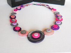 Button Necklace Button Jewellery Statement por LittleMissCraftista