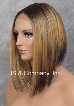 Heat Safe Lace Front Wig Straight Center Part Gold blonde brown Ombre YB 3T4.GB