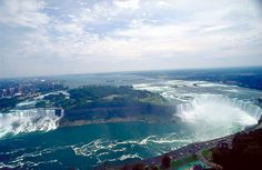 A wide angle view of both Niagara Falls from the Skylon Tower  DONE!! In 2006