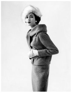 Beautiful Gitta Schilling in suit  French Vogue, August 1958.  Classic style. Never goes out
