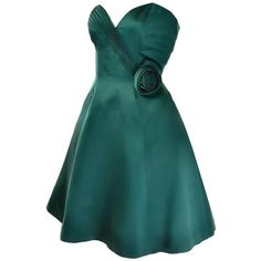 1980s Vicky Teal Couture Green Satin Strapless Dress with Rosette ❤ liked on Polyvore featuring dresses, strapless cocktail dresses, christmas dresses, satin cocktail dress, green party dress and christmas party dresses