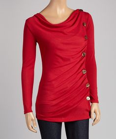 Red Button Drape Top | Daily deals for moms, babies and kids