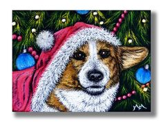 NFAC NOV Dog ACEO Original Scratch Art CHRISTMAS CORGI Santa Tree Ornament Puppy #Miniature