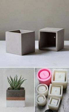 Cool square silicone molds to make DIY concrete planters. I really love this geo. Cool square silicone molds to make DIY concrete planters. I really love this geometric, minimalist cement flower pots. They are easy to customize to fit every home design. Diy Concrete Planters, Concrete Crafts, Concrete Projects, Diy Planters, Garden Planters, Cement Flower Pots, Cement Pots, Concrete Cement, Concrete Design