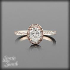 14kt Rose Gold Oval Diamond Engagement Ring with side halo - LS876. $5,552.63, via Etsy.