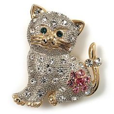 Two Tone Crystal Cat Brooch  Lets face it we all love cats.  You can show your passion for cats by wearing cute cat jewelry for women.  You will find all kinds of pretty kitty jewelry that you will absolutely love.  If you are a statement necklace person then a cat statement necklace would be ideal.  I love the look of cat wrist watches along with some of the cute cat brooches and pins.  However cat rings and bracelets would make a great gift for the crazy cat lady in your life.