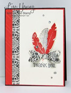 Stampin' Up! ... hand crafted thank you card from Add Ink and Stamp: Stamp Review Crew: Four Feathers Edition ... black and white with red ... dimensional bow and die cut feathers ...