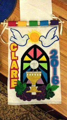 Communion banner made from felt, glitter foam, puff paint and hot glue.