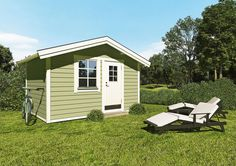 - wooden guest house (or rather cottage). Shed, Cottage, Outdoor Structures, Green, House, Home, Cottages, Cabin, Homes