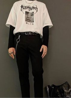 Tumblr Grunge Outfits, Edgy Outfits, Mode Outfits, Edgy School Outfits, Korean Outfits, Boy Fashion, Korean Fashion, Mens Fashion, Fashion Outfits