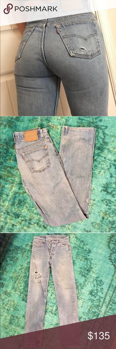 Vintage High-rise Levi 501's  Reposh* Original pictures* Awesome pair of vintage Levi's that sadly do not fit. Give you a perfect butt hugging look! Cropped hem. Straight leg. Inseam 29. Size 27 *not reformation* Reformation Jeans