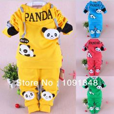Spring new Style Three-dimensional panda children sport suit boy and girl baby clothes $16.01