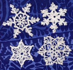 Tässä vielä muutama uusi lumihiutaleohje kirjasta 60 Crocheted Snowflakes (Barbara Christopher, Dover Publications Inc. 1987). Hiutaleet 1...