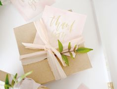 Gold foil hand lettered thank you tags | A Fabulous Fete