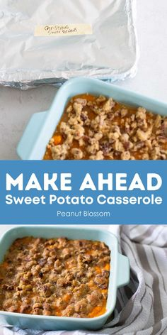 Split this sweet potato casserole recipe in half and prep one for the freezer and one to bake now. Or you can make ahead the whole recipe the day before you want to serve it. This is the perfect make ahead Thanksgiving recipe, you can freeze the other half for Christmas! Sweet Potato Pecan, Sweet Potato Casserole, Thanksgiving Recipes, Holiday Recipes, Holiday Foods, Best Frozen Meals, Peanut Blossoms, Meals Kids Love, Make Ahead Freezer Meals