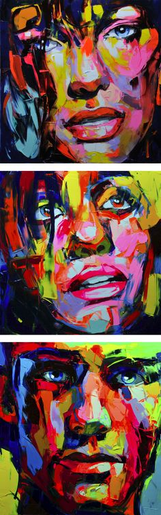 You gotta love when an artist uses bold brush strokes to create colorful portraits. Francoise Nielly has a very peculiar style influenced by her past creative experiences and family life (her fathe. Street Art, Wow Art, Arte Pop, Portrait Art, Amazing Art, Art Drawings, Art Projects, Art Photography, Illustration