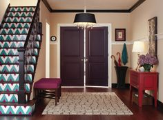 Fancy Flight. Create a lasting first impression in your entryway by designing a show-stopping welcome. Painted risers make a unique style statement and offer guests a peek into the look and feel of the rest of your home's interior. Graphic and bold...