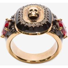 Alexander McQueen Jewelled Medallion Ring ($355) ❤ liked on Polyvore featuring jewelry, rings, antique gold, antique gold jewelry, engraved jewelry, jewels jewelry, engraved jewellery and alexander mcqueen