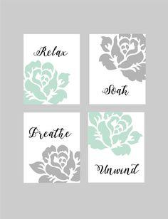 Relax Soak Unwind Bathroom Art, Bathroom Wall Art, Bathroom Wall Decor, Mint and Grey, Floral Bathroom Art,Bathroom Prints,You Choose Colors
