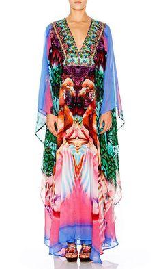 Camilla Franks Long Silk V Neck Kaftan Dress OSFM NWT