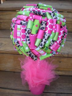 Ribbon Topiary Centerpiece/Decoration for Birthday Party/Baby Shower in Leopard, Hot Pink & Lime Green Small Size