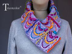Echarpe col en coton et laine tricoté à la main by tricotcolor